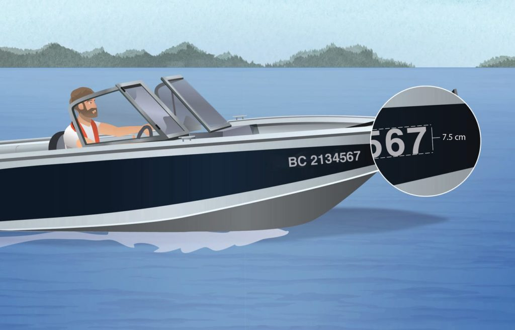 Illustration of a BC boat with a zoom-in call out image of a boat license number.