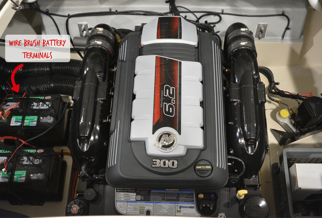 Picture of a well maintained boat motor to illustrate proper boat maintenance.