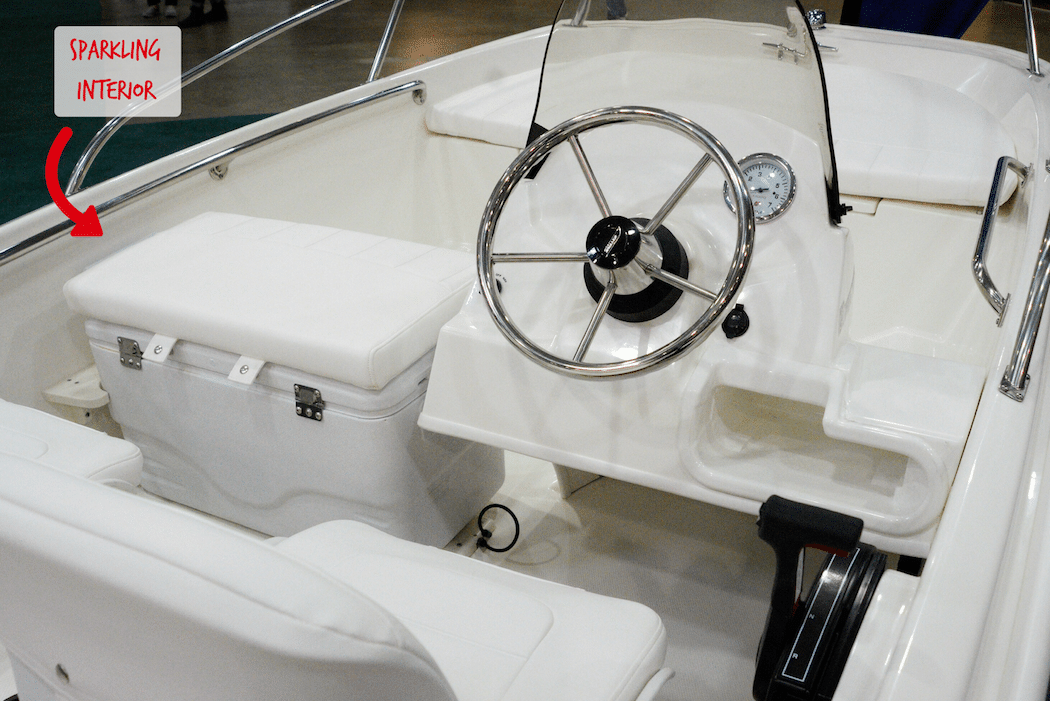 Picture of a properly maintained boat interior, to illustrated proper boat maintenance.