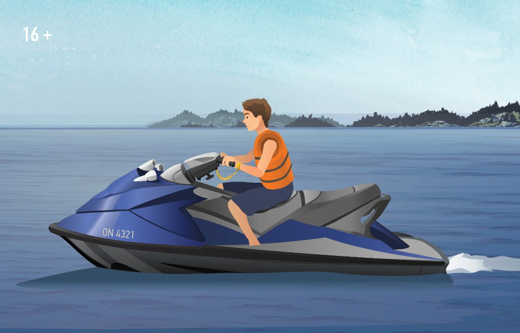 Illustration of a young man operating a personal watercraft (PWC).