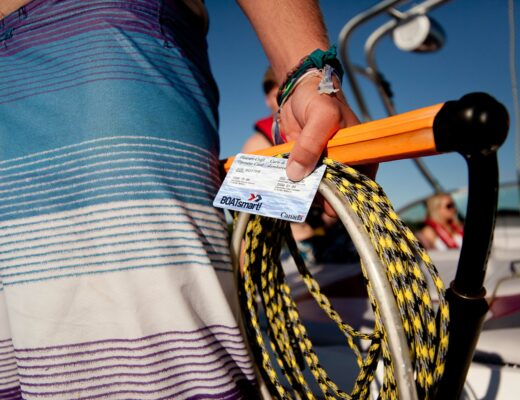 Boat license in boaters hand