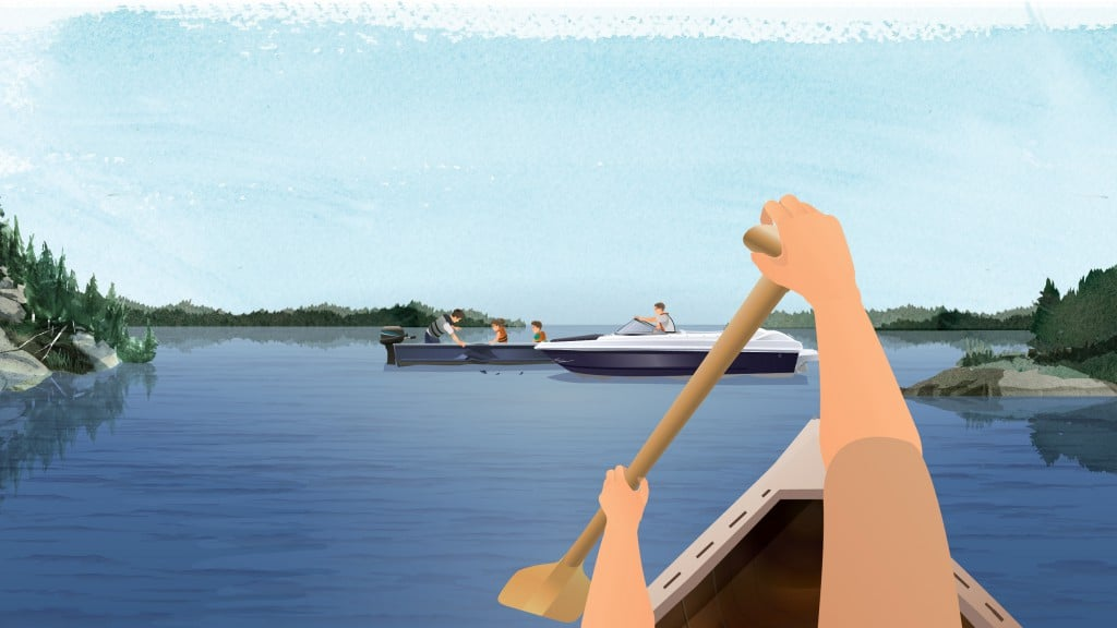 Illustration of a paddler approaching a boat collision on a calm waterway.