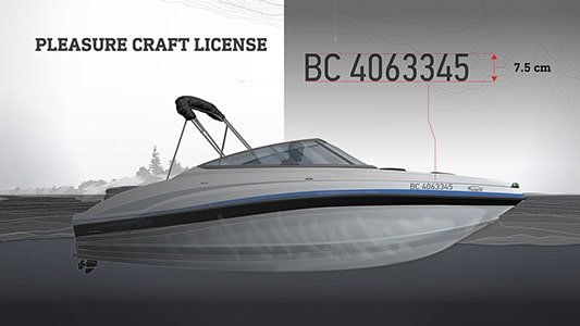 Bowrider boat with BC registration number on the side. Illustration.