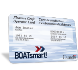 A Boatsmart Canada pleasure craft operator card