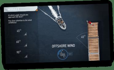 BOATsmart! docking course screenshot on tablet.