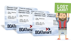 Three stacked boatsmart boating licenses behind a cartoon man holding a sign saying most popular