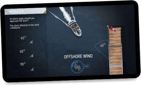 BOATsmart! courseware on a tablet.