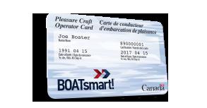A boatsmart pleasure craft operator card