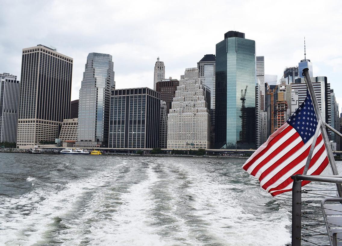 Picture of New York skylines illustrating New York's waterways.