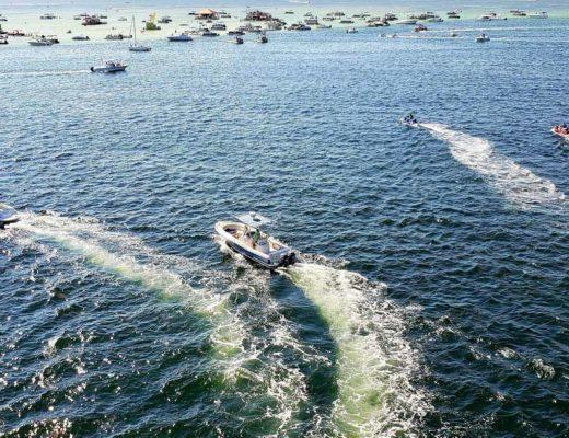 boats anchored at sandbar