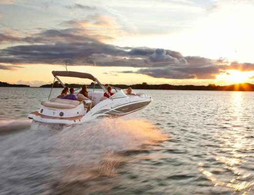 boat cruising with people onboard
