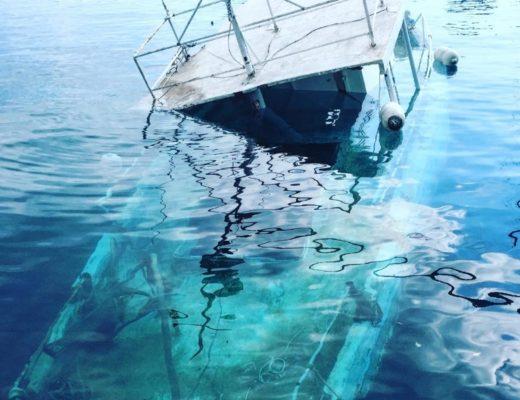 boat wreck half underwater