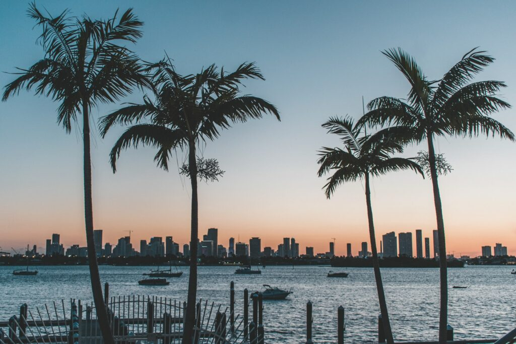 Skyline-over-water-in-Miami-Florida