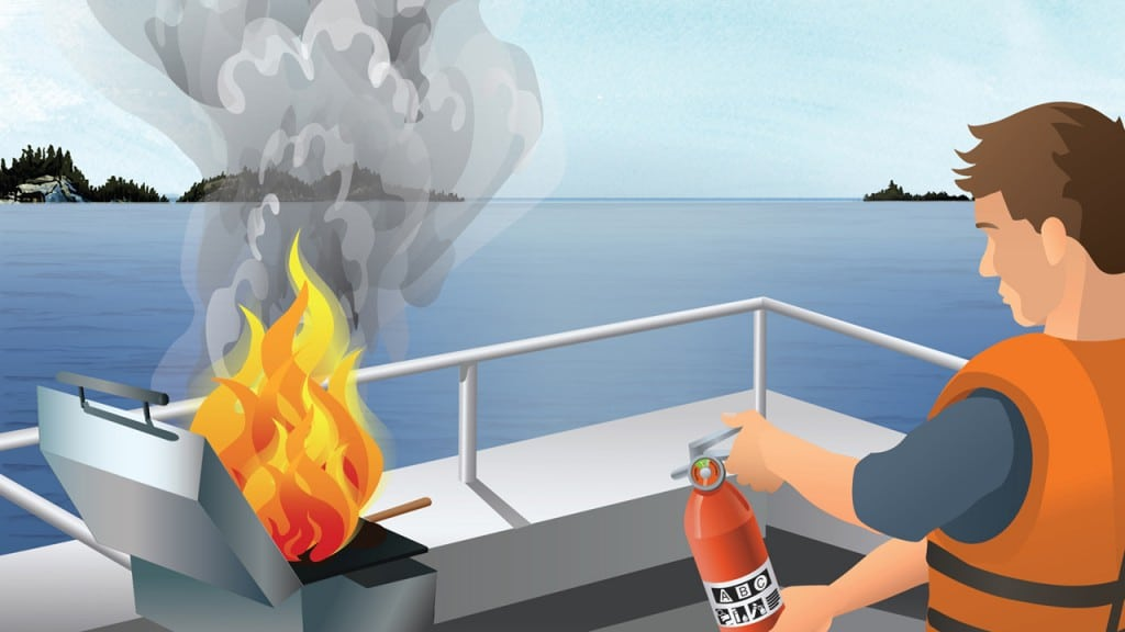 Boat operator fighting a boat fire