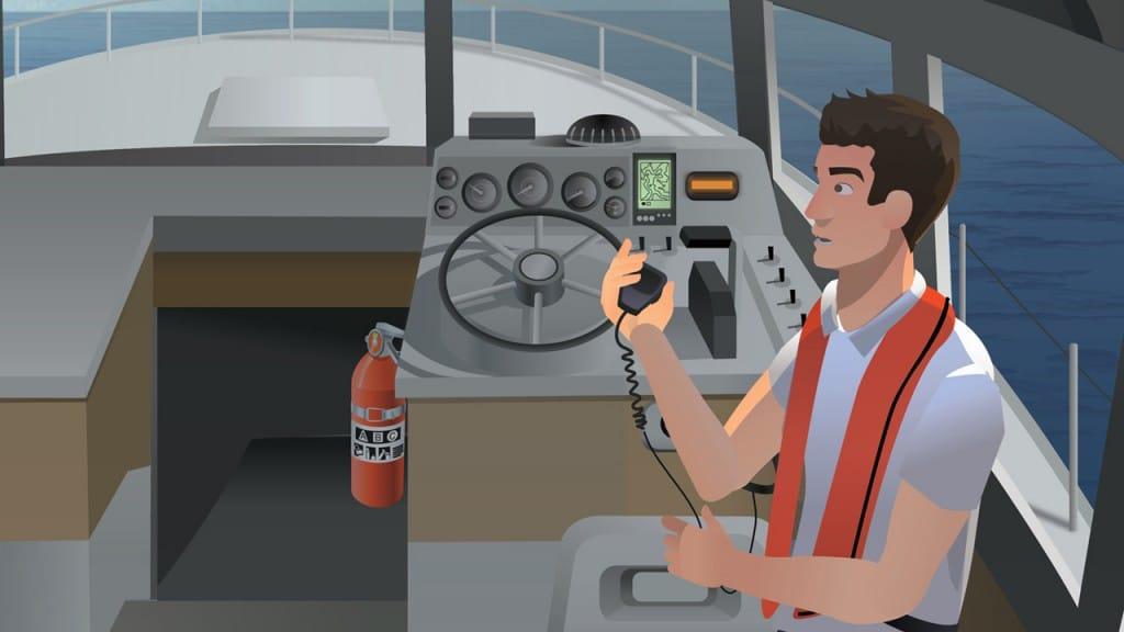 Boat Operating signaling distress with VHF Marine Radio
