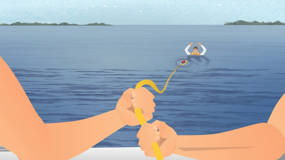 Using a buoyant heaving line to rescue a person overboard