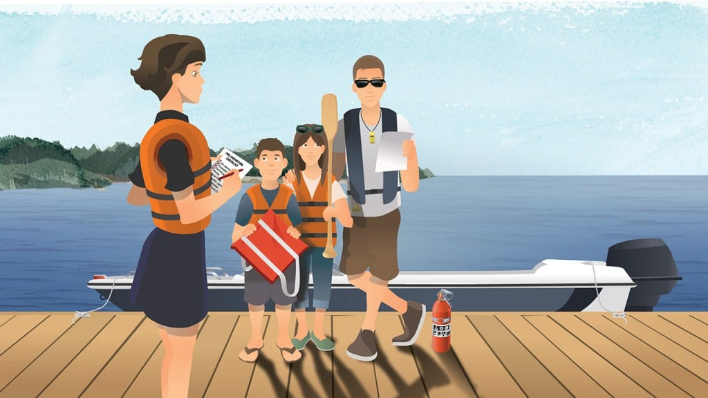 Family of boaters discussing their pre-departure checklist