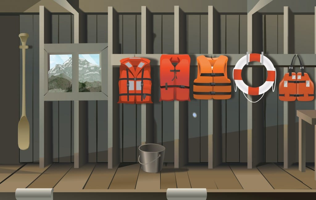Illustration of life jackets and flotation devices hung in an appropriate dry location.