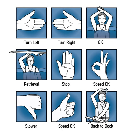 Hand signals for people being towed