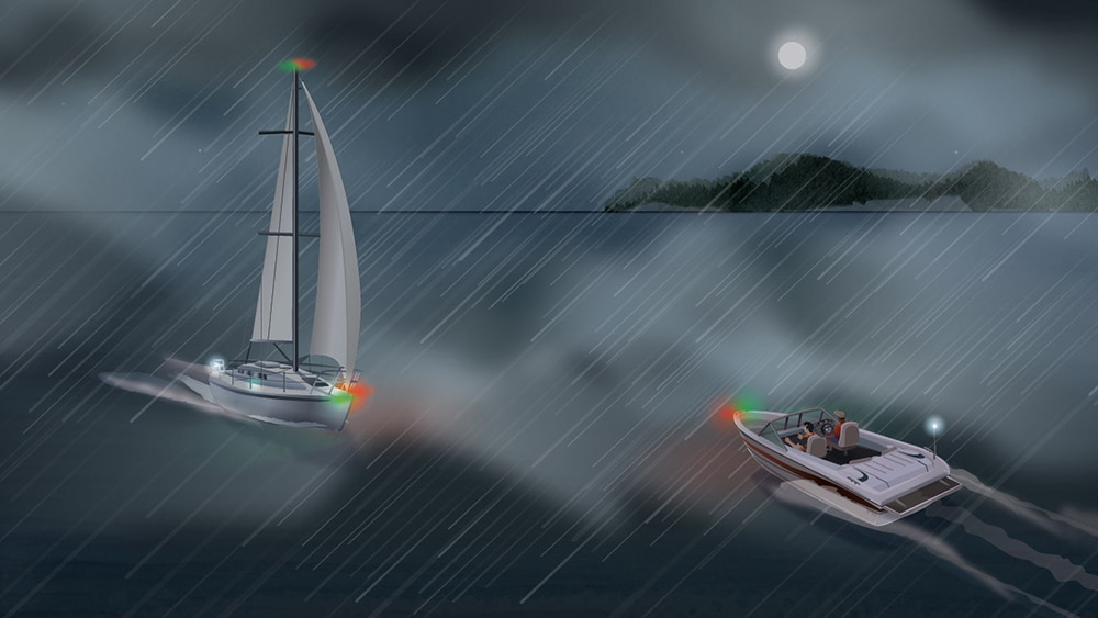 Using your navigation lights in restricted visibility
