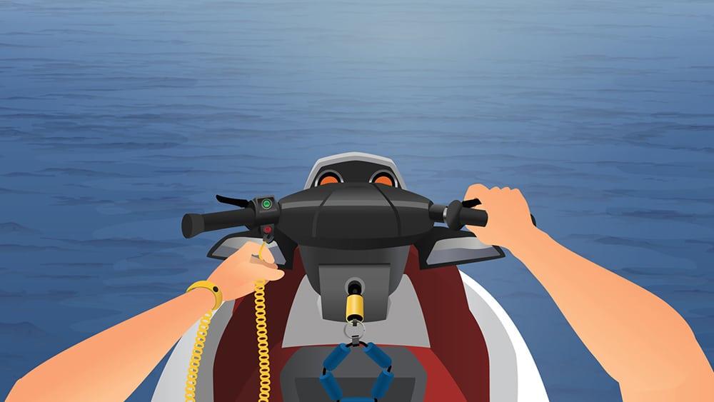 Personal Watercraft safety lanyard