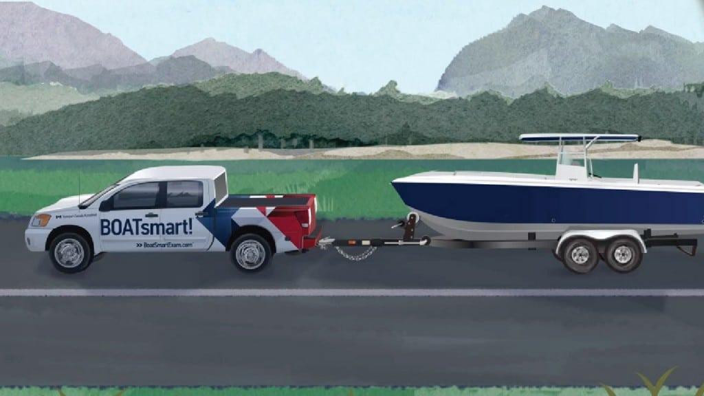 Truck trailering a boat