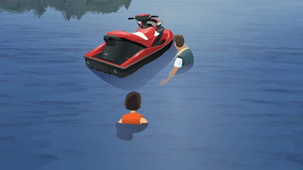 How to re-board a personal watercraft from deep water