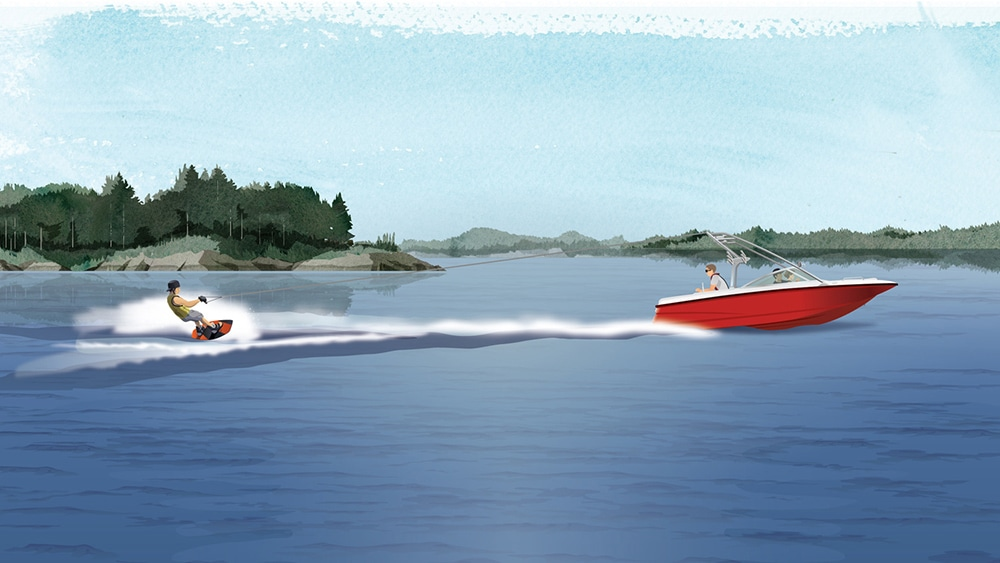 Florida's Waterskiing Regulations. Waterskiing man being towed behind a red boat on a lake surrounded by trees.